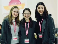 (From L to R) Hackathon organizers Sara Orlian, Sarah Bracha Schuraytz of Los Angeles and Michelle Berger